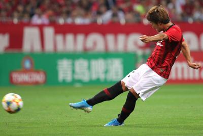 【浦和―広州恒大】後半、浦和の関根がゴールを決める=埼玉スタジアムで2019年10月2日、宮武祐希撮影