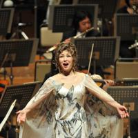 熱唱するオペラ歌手の佐藤しのぶさん=2010年12月、三浦博之撮影
