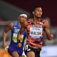 男子400メートル準決勝、3組4着のウォルシュ・ジュリアン=カタール・ドーハで2019年10月2日、久保玲撮影