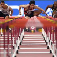 男子110メートル障害準決勝、3組6着の高山峻野(中央)=カタール・ドーハで2019年10月2日、久保玲撮影