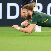 【南アフリカ-イタリア】後半、トライを決める南アフリカのスナイマン=静岡スタジアムで2019年10月4日、玉城達郎撮影