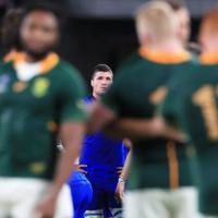 【南アフリカ-イタリア】南アフリカに敗れ、厳しい表情を見せるイタリア選手=静岡スタジアムで2019年10月4日、玉城達郎撮影