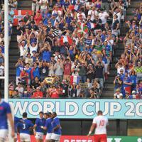 【フランス-トンガ】前半、フランスのトライに盛り上がる観客席=えがお健康スタジアムで2019年10月6日、徳野仁子撮影
