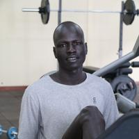 「今は難民でも、明日は何が待っているかわからない」と話すイエチ・プル・ビエル選手=ナイロビ郊外で2019年7月28日午後2時55分、小泉大士撮影