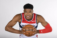 Washington Wizards' Rui Hachimura poses for a portrait during an NBA basketball media day, on Sept. 30, 2019, in Washington. (AP Photo/Nick Wass)