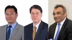 日産自動車の(右から)アシュワニ・グプタ最高執行責任者(COO)、内田誠社長兼最高経営責任者(CEO)、関潤副COO