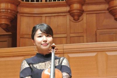 いずみホールでコンサートを開くバイオリニストの松田理奈=大阪市中央区で2019年9月2日、倉田陶子撮影