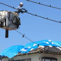 台風15号が上陸してから1カ月を迎えた鋸南町では今もなお懸命な復旧作業が行われている=千葉県鋸南町で2019年10月9日午前11時16分、玉城達郎撮影