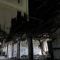 東日本大震災の火災の跡などが残る旧門脇小の校舎=宮城県石巻市で2019年10月9日午後1時8分、和田大典撮影