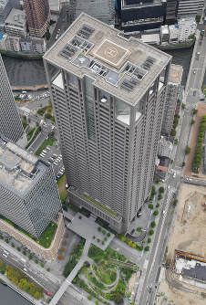 The Kansai Electric Power Co. headquarters building is seen in Osaka's Kita Ward in this file photo taken from a Mainichi Shimbun helicopter on Sept. 27, 2019. (Mainichi/Tatsuya Onishi)