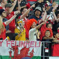 【ウェールズ―フィジー】試合を終えた選手たちに声援を送るファンたち=昭和電工ドーム大分で2019年10月9日、森園道子撮影