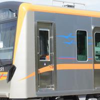 京成電鉄の新型車両「3100形」の側面=千葉県酒々井町で2019年10月10日午前10時38分、中村宰和撮影