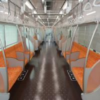 京成電鉄の新型車両「3100形」の車内。座席はオレンジを基調にしている=千葉県酒々井町で2019年10月10日午前11時32分、中村宰和撮影