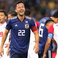 【日本-モンゴル】前半、吉田がゴールを決めて喜ぶ=埼玉スタジアムで2019年10月10日、宮武祐希撮影