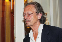 In this Aug. 7, 2009 file photo, Austrian author Peter Handke attends a dress rehearsal of Samuel Beckett's and Peter Handke's drama