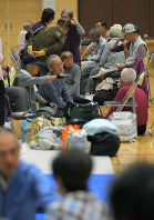 Residents gather at an evacuation center opened in preparation for powerful Typhoon Hagibis on Oct. 11, 2019, in the Chiba Prefecture city of Tateyama, east of Tokyo, which was damaged by Typhoon Faxai in September. (Mainichi/Koichiro Tezuka)