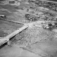 伊豆長岡駅付近の橋にひっかかったおびただしい流木=1958年9月27日
