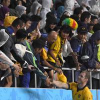 【オーストラリア-ジョージア】試合終了後、観客との握手に応じるオーストラリアのポーコック(右下)=静岡スタジアムで2019年10月11日、竹内紀臣撮影