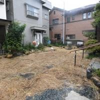 台風19号の雨で冠水したエリアには、水は引いたものの、住宅街に刈り取った後の稲が流れ着いていた=静岡市で2019年10月12日午前11時18分、竹内紀臣撮影