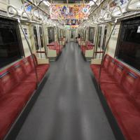 運行しているものの、台風19号の影響で閑散とする東京メトロの地下鉄車内=東京都千代田区で2019年10月12日午後1時1分、丸山博撮影