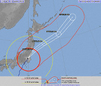 The predicted path of Typhoon Hagibis as of 10 p.m. on Oct. 12, 2019. (Image from the Japan Meteorological Agency website)