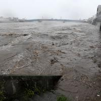 台風19号の接近に伴う雨で増水した狩野川=静岡県沼津市で2019年10月12日午後3時57分、竹内紀臣撮影