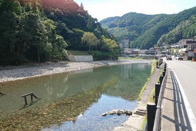 亀屋旅館のすぐ近くを流れる大塔川=田辺市本宮町川湯で、目野創撮影