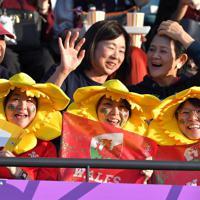 【ウェールズ-ウルグアイ】観客席で盛り上がる人たち=えがお健康スタジアムで2019年10月13日、徳野仁子撮影