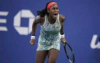 In this Aug. 29, 2019, file photo, Coco Gauff, of the United States, celebrates after defeating Timea Babos, of Hungary, in the second round of the U.S. Open tennis tournament in New York. (AP Photo/Charles Krupa)