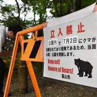 今年7月にクマが目撃され、安全のため一時閉鎖された城山公園=岐阜県高山市城山で