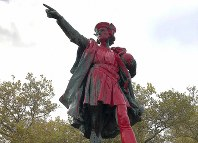 Red paint covers a statue of Christopher Columbus on Oct. 14, 2019, in Providence, R.I., after it was vandalized on the day named to honor him as one of the first Europeans to reach the New World. (AP Photo/Michelle R. Smith)