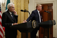 President Donald Trump speaks during a news conference with Italian President Sergio Mattarella in the East Room of the White House, on Oct. 16, 2019, in Washington. (AP Photo/Evan Vucci)