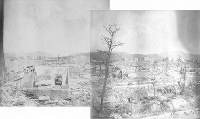 The charred scenery visible when looking out northward from near the Hiroshima Prefectural Hospital is seen after the atomic bombing of Hiroshima, in this photo taken by Kiyoshi Kanai and Toshio Maeda.