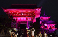 The Niomon gate, left, the Sanju-no-to tower, rear right, and the Nishimon gate, front right, are lit up in pink at Kiyomizu-dera Temple in Kyoto's Higashiyama Ward on Oct. 1, 2019, to promote awareness about breast cancer. (Mainichi/Ai Kawahira)