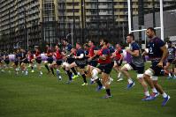Ireland players run during a training session in Urayasu, near Tokyo, Japan, on Oct. 15, 2019. (AP Photo/Christophe Ena)