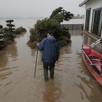 台風19号の影響で吉田川が氾濫し、浸水した米農家の八木秀敏さん(69)宅では1週間たった今も水が完全には引いていない。八木さんは福島県郡山市から駆けつけた長男秀一さんと雨足が弱まった午後、水位が1・5メートルほどになった場所を船でぬけて、家具などが散乱する家や倉庫の片づけをした。今年収穫し家族や親戚のため倉庫に置いていた1年分の米は水につかりすべてだめになってしまった。八木さんはため息をつきながら「悲惨だあ。水が引かなければ片づける物を置く場所もなく、全然進まない。早く水が引いてくれるのを願うのみです」と話した=宮城県大崎市で2019年10月19日午後2時23分、和田大典撮影