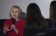 Former Secretary of State Hillary Clinton answers a question posed by student journalists during the Trailblazing Women of Park Ridge event in Park Ridge, Ill., on Oct. 11, 2019. (Joe Lewnard/Daily Herald via AP)