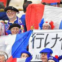 【ウェールズーフランス】フランス国旗を掲げて盛り上がるファン=昭和電工ドーム大分で2019年10月20日、徳野仁子撮影