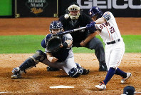 Houston Astros' Jose Altuve hits a two-run walk-off to win Game 6 of baseball's American League Championship Series against the New York Yankees Saturday, Oct. 19, 2019, in Houston. The Astros won 6-4 to win the series 4-2. (AP Photo/Sue Ogrocki)