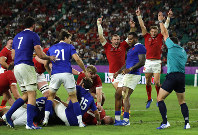 Wales players celebrate after Ross Moriarty scores a try during the Rugby World Cup quarterfinal match against France at Oita Stadium in Oita, Japan, on Oct. 20, 2019. (AP Photo/Christophe Ena)