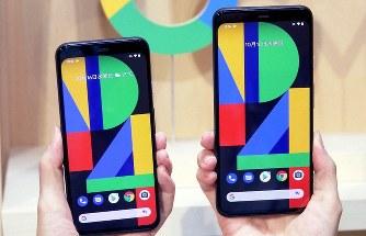 グーグルが発表した「ピクセル4」(左)と「ピクセル4 XL」