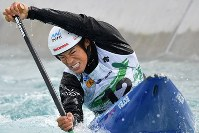 Takuya Haneda competes on his way to taking third place in the NHK Cup Canoe Slalom at the Kasai Canoe Slalom Centre in Tokyo's Edogawa Ward on Oct. 20, 2019. Haneda qualified for the 2020 Tokyo Olympics. (Mainichi/Takehiko Onishi)