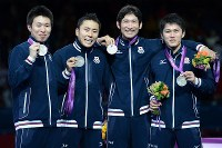 2012 London Olympics -- The Japanese men's foil fencing team shows off their silver medals they earned in the event. From left, Suguru Awaji, Yuki Ota, Ryo Miyake and Kenta Chida are seen. Ota, the star of the team, said after the competition,