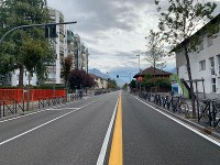 A view of a deserted road in the northern Italian city of Bolzano, on Oct. 20,2 019. Italian authorities have evacuated 4,000 people from the center of Bolzano to defuse a World War II bomb found during construction. (G.news/ANSA via AP)