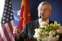 In this June 30, 2017 file photo, U.S. Ambassador to China Terry Branstad speaks during an event in Beijing. (AP Photo/Mark Schiefelbein, Pool)