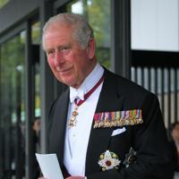 「即位礼正殿の儀」への参列を終え、車を待つイギリスのチャールズ皇太子=皇居・宮殿南車寄で2019年10月22日午後1時52分、手塚耕一郎撮影