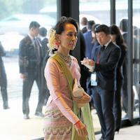 即位礼正殿の儀に参列するため、宮殿に入るミャンマーのアウンサンスーチー国家最高顧問兼外相=皇居・宮殿南車寄で2019年10月22日午後0時32分、手塚耕一郎撮影