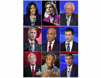 This combination photo shows, top row from left, U.S. Presidential candidates, Sen. Kamala Harris, Sen. Elizabeth Warren, Sen. Bernie Sanders, middle row from left, former Congressman Joe Walsh, Sen Cory Booker and South Bend Mayor Pete Buttigieg, and bottom row from left, Former Massachusetts Gov. Bill Weld, former South Carolina Gov. Mark Sanford and former Congressman Beto O'Rourke, who will participate in an hour-long special about climate change, airing Nov. 7. (AP Photo)
