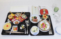 This supplied photo shows food served in the banquet at the Imperial Palace following Emperor Naruhito's proclamation of his enthronement.(Imperial Household Agency/Kyodo)