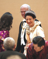 Japan's Empress Masako is seen at the Kyoen-no-gi banquet at the Imperial Palace in Tokyo on Oct. 22, 2019. (Pool photo)